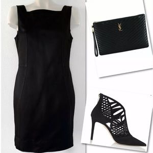 ST. JOHN COUTURE BLACK SILK STRAIGHT SHEATH DRESS